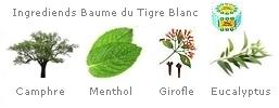 Le Baume du Tigre Blanc est composé de : Camphre 25%, Menthol 8%, Huile de clou de girofle 1,43%, Huile d'Eucalyptus, 13,7%, Huile de menthe démentholisée 16%