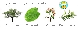 White Tiger Balm composition : Camphor 25%, Menthol 8%, Clove bud oil 1,43%, Dementholised mint oil 16%