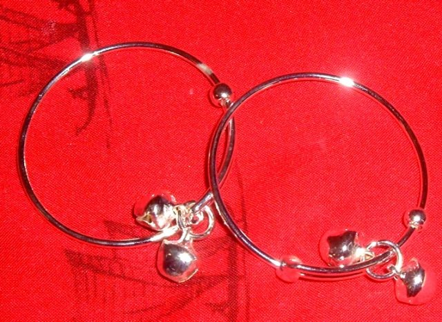 Buy this article : 2 ankle bracelets for baby, silver plated