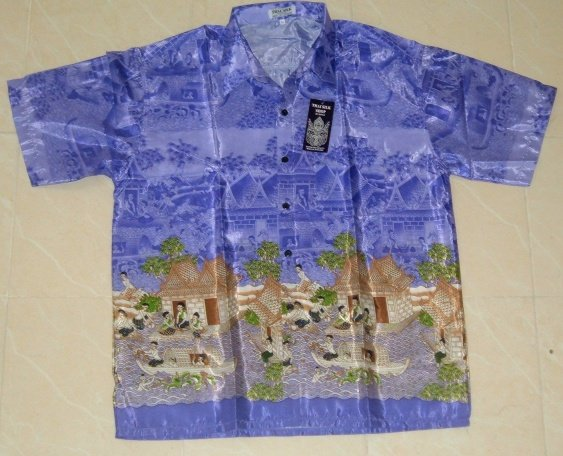 Buy this article : Blue shirt Thai silk