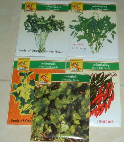Buy this article : Seed packets, thai basil, peppers