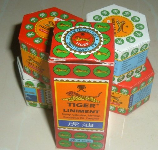 Buy this article : Assortment : 4 boxes Tiger Balm and 1 Tiger liniment